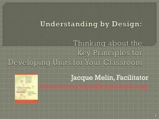 Jacque Melin, Facilitator formativedifferentiated