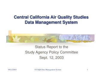 Central California Air Quality Studies Data Management System