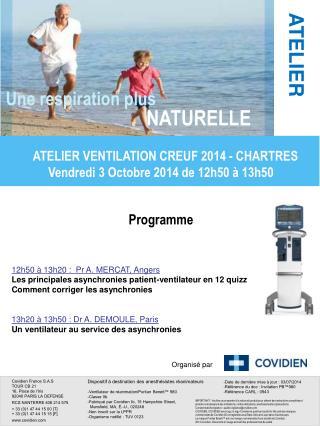 Programme 12h50 à 13h20 : Pr A. MERCAT, Angers