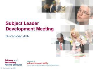 Subject Leader Development Meeting