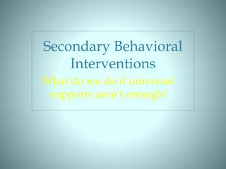 Secondary Behavioral Interventions
