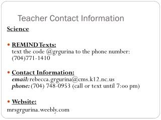Teacher Contact Information