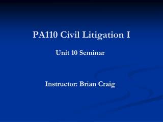 PA110 Civil Litigation I
