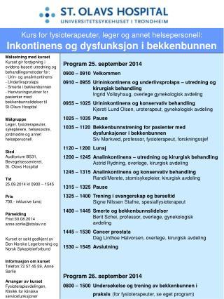 Program 25. september 2014 0900 – 0910Velkommen