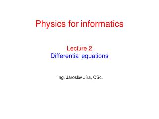 Lecture 2 Differential equations