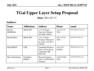 TGai Upper Layer Setup Proposal
