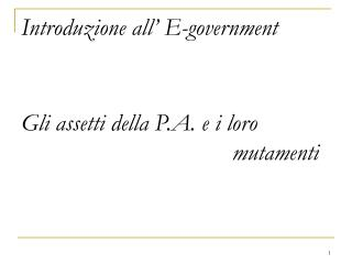 Introduzione all' E-government