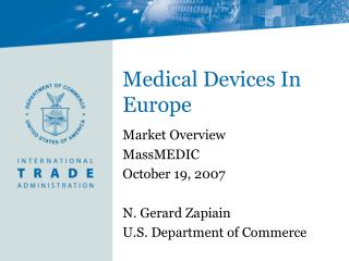 Medical Devices In Europe