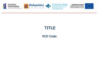 TITLE RCD Code :