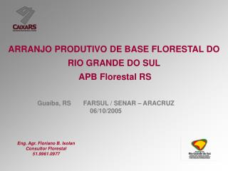 ARRANJO PRODUTIVO DE BASE FLORESTAL DO RIO GRANDE DO SUL           APB Florestal RS