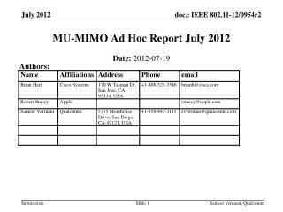 MU-MIMO Ad Hoc Report July 2012