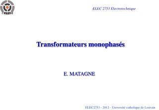 Transformateurs monophasés