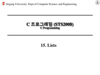C 프로그래밍 ( STS2008 ) C Programming