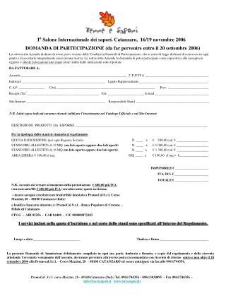 DOMANDA DI PARTECIPAZIONE (da far pervenire entro il 20 settembre 2006)