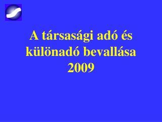 A társasági adó és különadó bevallása 2009