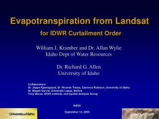 Evapotranspiration from Landsat for IDWR Curtailment Order