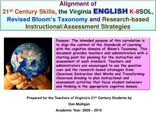 Prepared for the Teachers of Virginia's 21 st  Century Students by Dan Mulligan