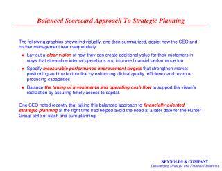 Balanced Scorecard Approach To Strategic Planning