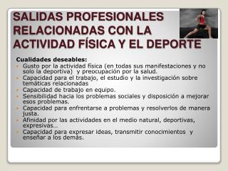 SALIDAS PROFESIONALES RELACIONADAS CON LA ACTIVIDAD FÍSICA Y EL DEPORTE