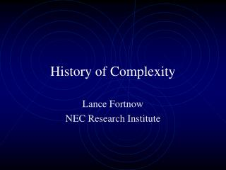 History of Complexity