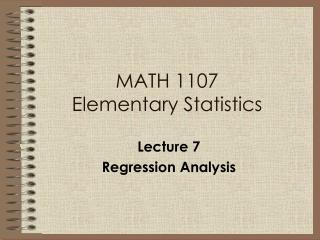 MATH 1107 Elementary Statistics