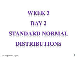 Week 3 Day 2 Standard normal distributions