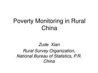 Poverty Monitoring in Rural China