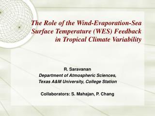 R. Saravanan Department of Atmospheric Sciences, Texas A&M University, College Station