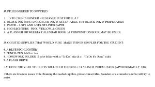 SUPPLIES NEEDED TO SUCCEED: 1. 1.5 TO 2.0 INCH BINDER - RESERVED JUST FOR ELA 7