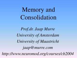 Memory and Consolidation