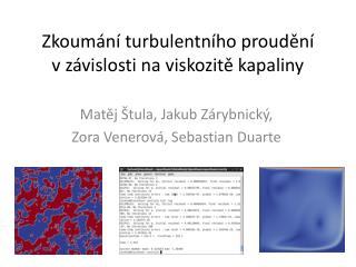 Zkoumání turbulentního proudění v závislosti na viskozitě kapaliny