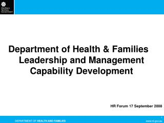 Department of Health & Families Leadership and Management  Capability Development