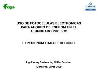 USO DE FOTOCELULAS ELECTRONICAS PARA AHORRO DE ENERGIA EN EL ALUMBRADO PUBLICO