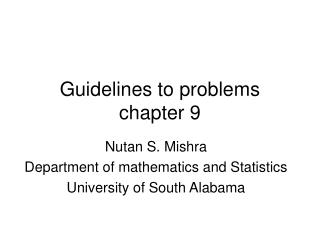 Guidelines to problems chapter 9
