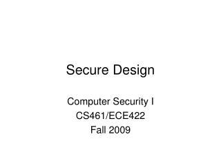 Secure Design