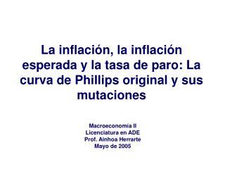 Macroeconomía II Licenciatura en ADE Prof. Ainhoa Herrarte Mayo de 2005
