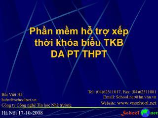 Phần mềm hỗ trợ xếp thời khóa biểu TKB DA PT THPT