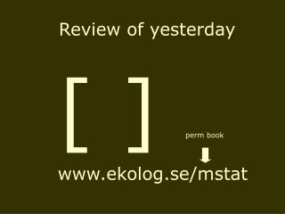Review of yesterday