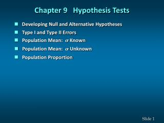 Chapter 9 Hypothesis Tests