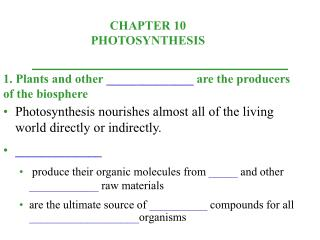1. Plants and other ______________ are the producers of the biosphere