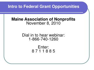 Intro to Federal Grant Opportunities