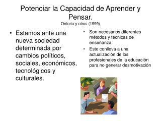 Potenciar la Capacidad de Aprender y Pensar. Ontoria y otros (1999)