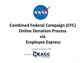 Combined Federal Campaign (CFC) Online Donation Process  via  Employee Express