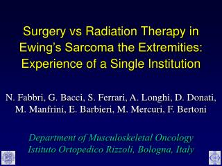 Surgery vs Radiation Therapy in Ewing's Sarcoma the Extremities: