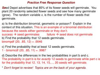 Practice Free Response Question