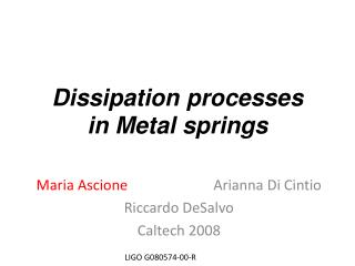 Dissipation processes in Metal springs