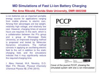 Cover of the journal  PCCP , showing the  simulated system with one Li ion intercalated