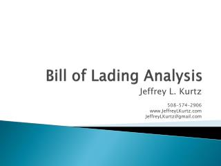 Bill of Lading Analysis