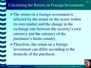 Calculating the Return on Foreign Investments