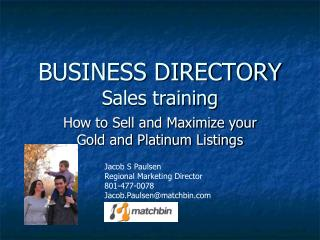 BUSINESS DIRECTORY Sales training